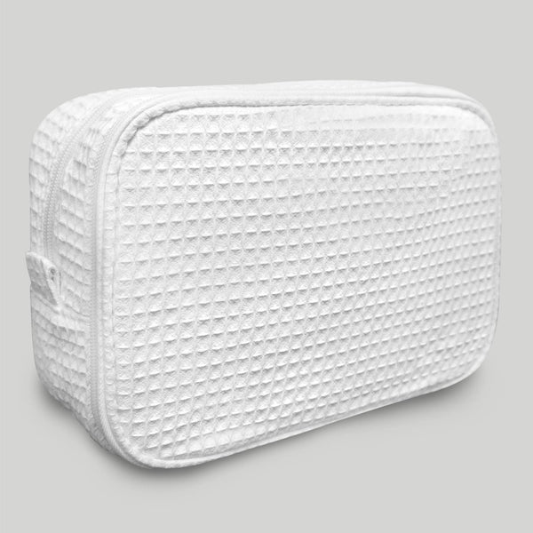 Stylish Cheap Durable White Waffle Designed Make Up Bag For Women, Waffle Makeup Bags