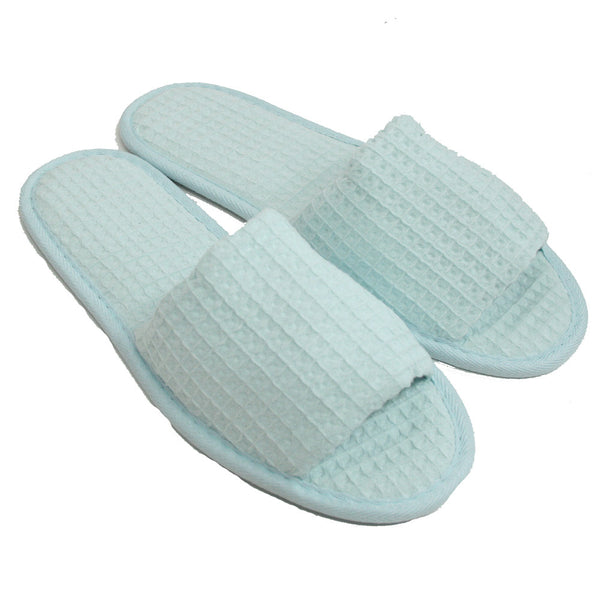 Stylish Cotton Waffle Indoor House Spa Hotel Open Toe Slippers, Wholesale Spa Slippers