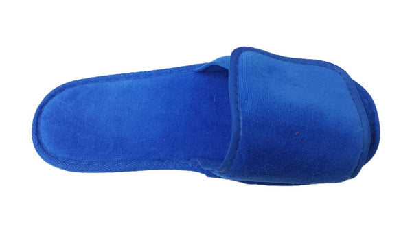 Stylish Royal Blue Terry Velcro Open Toe Cotton Spa Slippers Wholesale