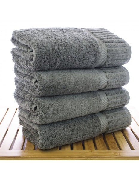 Super Absorbent Premium Cotton Solid Bath Towel - Gray - Set of 4, Bath Towels