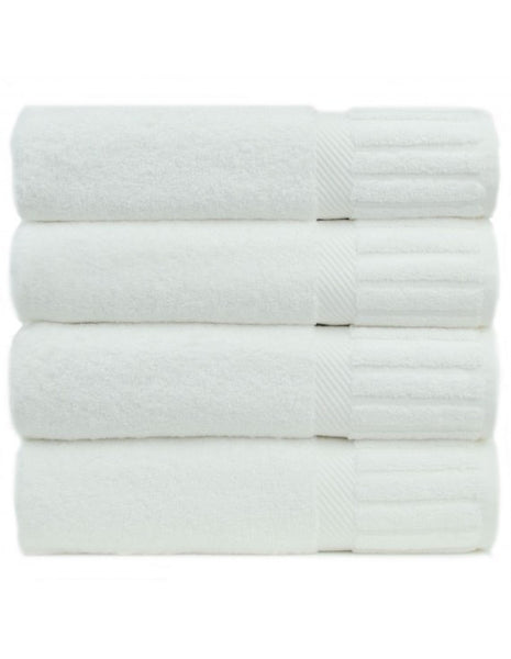 Terry Cloth Bath Towels in Bulk - White - Set of 4, Bath Towels