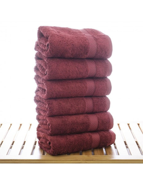 Terry Cloth Bathroom Kitchen Bamboo Hand Towels in Bulk  - Cranberry - Set of 6, Hand Towels