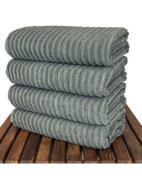 Turkish Luxury CollectioN Ribbed Bath Towel - Gray - Set of 4, Bath Towels