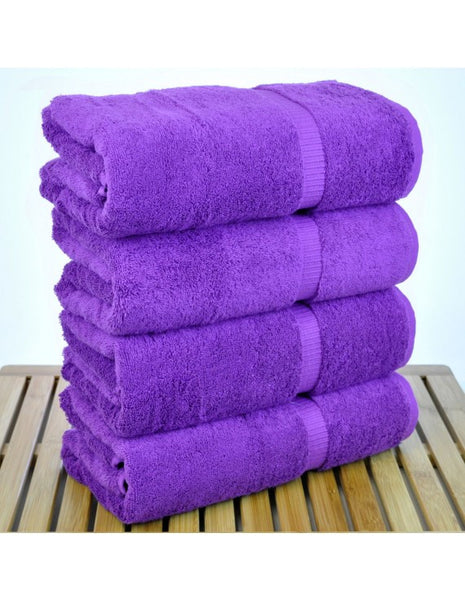 Turkish Premium Cotton Solid Bath Towel with Dobby Border - Egg Plant- Set of 4, Bath Towels