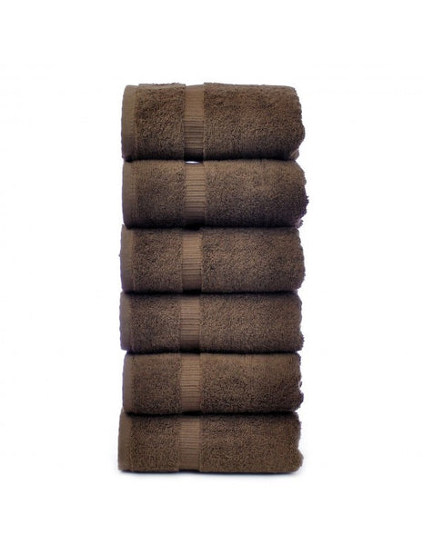 Ultimate Performance Resort Cotton Hand Towels - Cocoa - Set of 6, Hand Towels