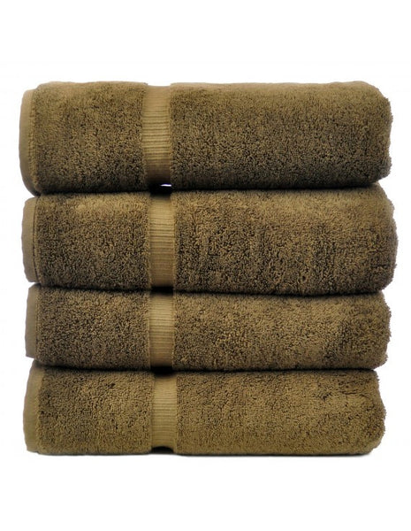 Ultra Plush 100% Cotton Luxury Large Bath Towel with Dobby Border - Cocoa - Set of 4, Bath Towels