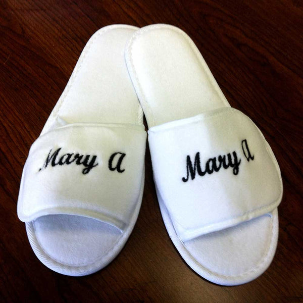 Velcro Adjustable Terry Cloth Spa Slippers Wholesale - White, Slippers