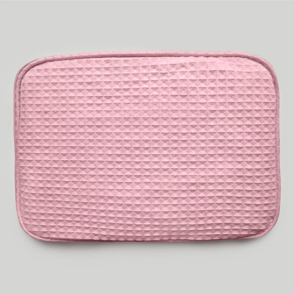 Waffle Designed Highly Durable Pink Make Up Bag For Women