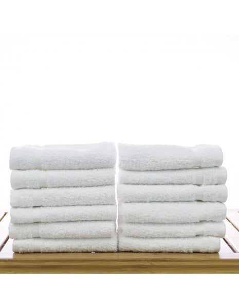 Wash Cloths for Kitchen, Bathroom & Office - White - Set of 12, Bath Towels