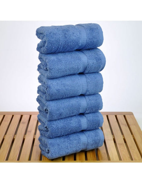 Wholesale Hand Towel 100% Premium Turkish Cotton - Wedgwood Blue - Set of 6, Hand Towels
