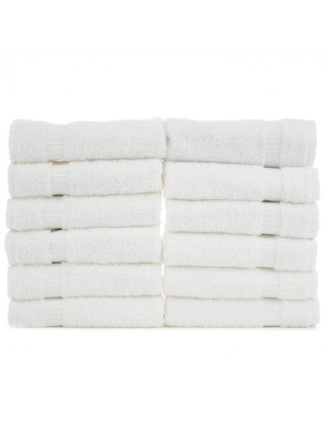 Wholesale Washcloths 100% Turkish Cotton - White - Set of 12, Bath Towels