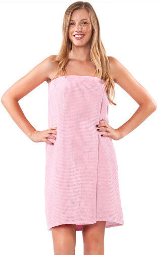 Adjustable Velcro Closure Waffle Knit Shower Wrap - Light Pink, Bath Wraps