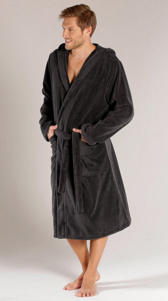 Black Terry Velour Hooded Robe with Double Stitch, Terry Cloth Robes