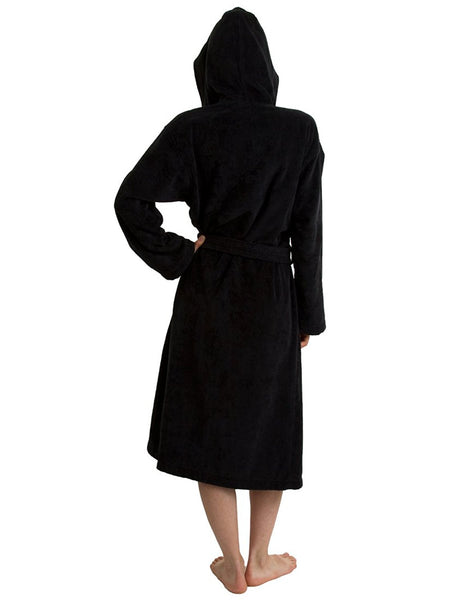 Black Terry Velour Robe with Hood for Women, Terry Cloth Robes