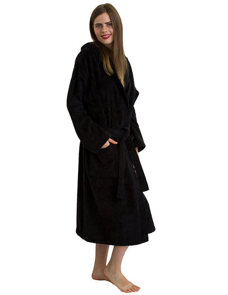 9285757347 ... Black Terry Velour Robe with Hood for Women