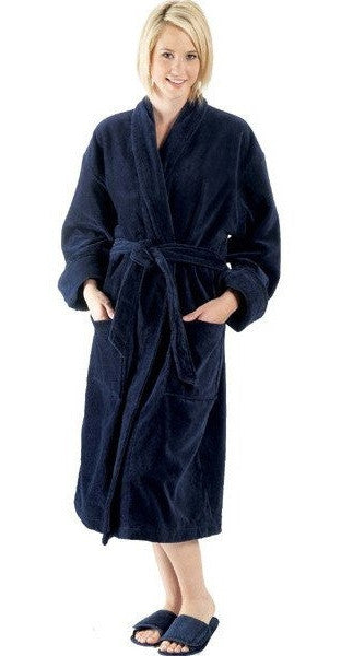 Blue Terry Velour Fabric Bathrobe with Shawl Collar, Terry Cloth Robes