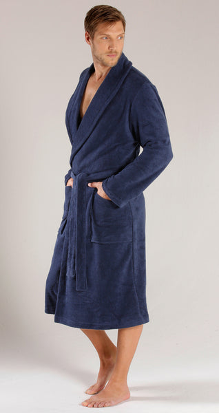 Towel Terry Velour Robe with Shawl Collar - Navy Blue b380d92cc
