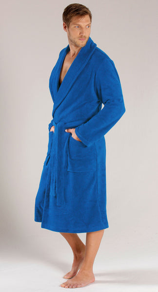 Men's Ultra Soft Plush Shawl Collar Terry Bath Robe - Royal Blue,