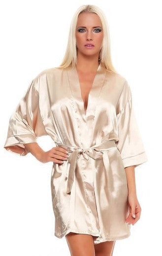 Bridal Party Satin Women's Robe - Peach, Satin Kimono Robe