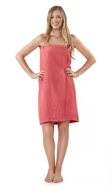 Bridesmaid Waffle Pattern Body Wrap - Coral, Bath Wraps