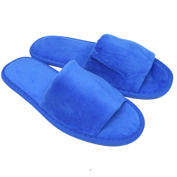 Cheap Terry Cloth Velour Spa Slippers Inexpensive for Hotel, Indoor, Nail Salons - Royal Blue