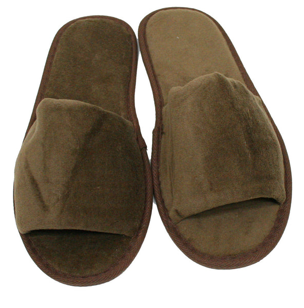 Cotton Terry Velour Indoor House Wholesale Spa Hotel Slippers Bulk - Brown, Slippers