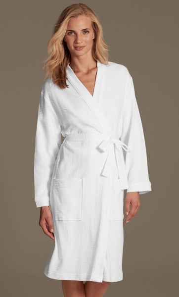 100% Cotton Waffle Weave Personalized Women's Bath Robe, Terry Cloth Robes