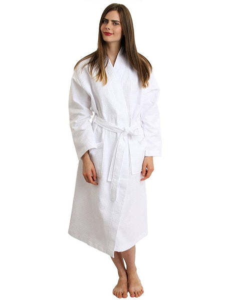 Wholesale White Traveler's Spa Hotel Lightweight Terry Kimono Bathrobe - White, Terry Cloth Robes