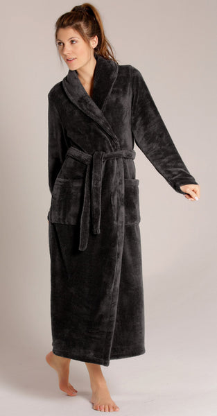 Elegant Fleece Shawl Collar Bathrobe for Woman - Black, Fleece Robes