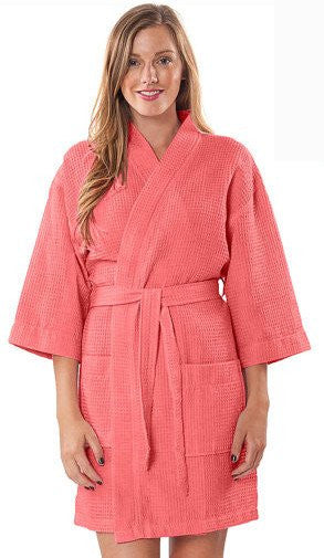 Thigh Length Waffle Weave Kimono Hotel Spa Bathrobe - Coral, Terry Cloth Robes