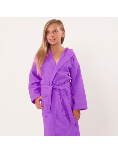 Embroidered Wholesale Waffle Hooded Spa Robes for Kids  - Lavender, Kid's Robe