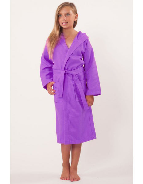 Embroidered Wholesale Waffle Hooded Spa Robes for Kids  - Lavender