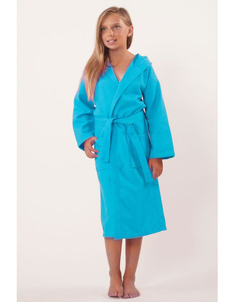 Girl & Boys Spa Waffle Bathrobes - Turquoise, Kid's Robe