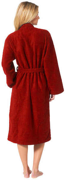 High Absorbent Comfy Terry Kimono Robe - Burgundy, Terry Cloth Robes
