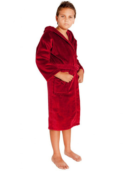 ... Hooded Terry Cloth Robes for Kids Personalized- Burgundy 0a78fe446