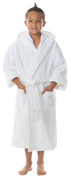 Hooded Terry Kids Bathrobe Wholesale - White, Kid's Robe