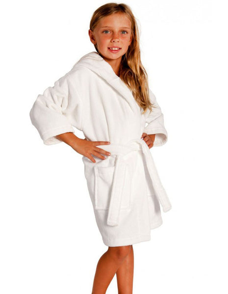 Hooded Terry Velour Kids Robe - White, Kid's Robe