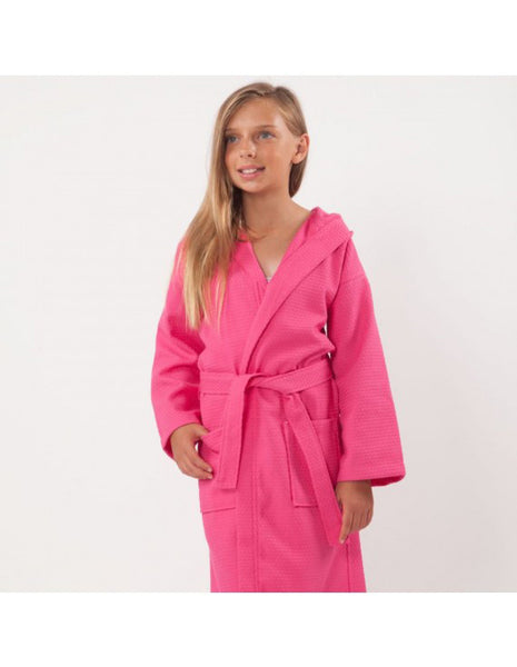 Hotel Spa Kids After Shower Robe Monogrammed - Fuschia, Kid's Robe
