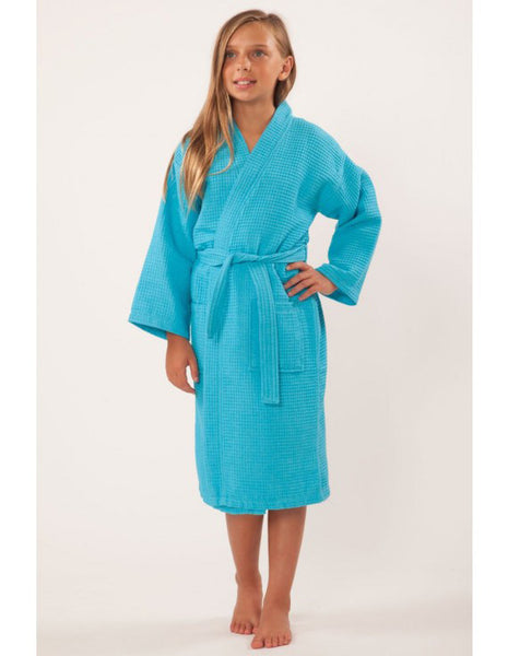 Kids Lightweight Kimono Spa Hotel Bathrobe - Turquoise, Kid's Robe