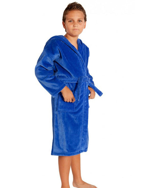 Kids Velour Robe with Hood Monogrammed - Navy Blue, Kid's Robe