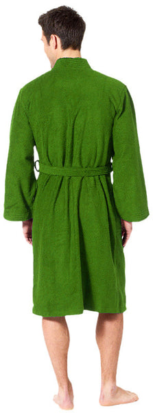 Plush Cotton Terry Kimono Style Men's Robe- Apple Green, Terry Cloth Robes