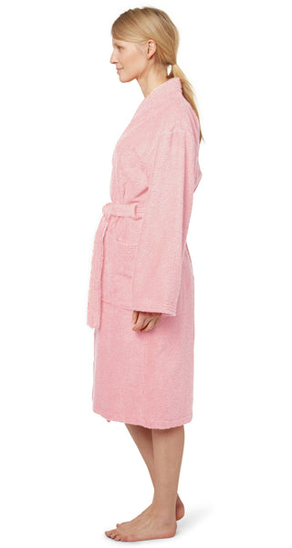 Kimono Collar Style 100% Super Absorbent Terry Robe - Pink, Terry Cloth Robes
