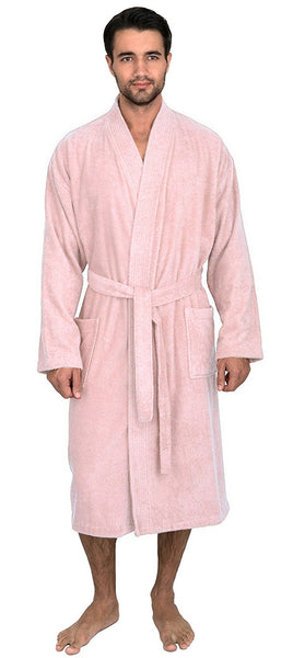Kimono Style Cotton Shower Robe Terry Cloth - Pink, Terry Cloth Robes