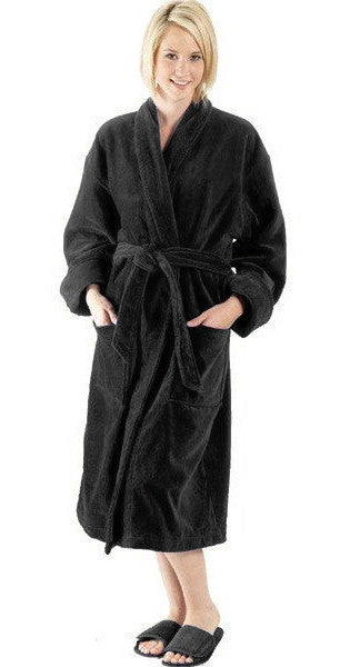 Ladies Soft Terry Velour Bathrobe with Shawl Collar - Black, Terry Cloth Robes