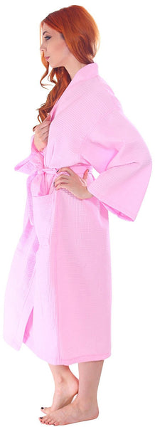 Women's Knee Length Long Waffle Weave Kimono Robe - Pink, Terry Cloth Robes