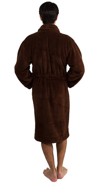 Luxurious Microfiber Polyester Fleece Bathrobe for Men - Chocolate, Fleece Robes