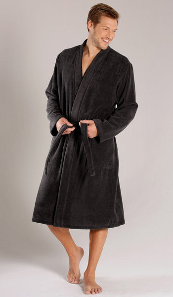 Luxury Terry Cloth Robe %100 Cotton - Black, Terry Cloth Robes