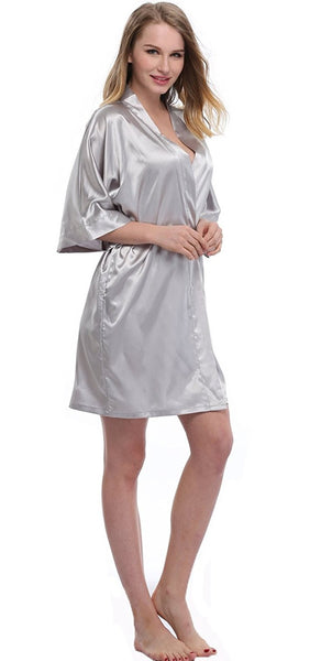 Luxury Women Nightwear Satin Dressing Gown Robe Kimono Sleepwear - Gray