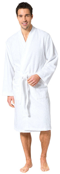 Men's 100% Turkish Cotton Terry Kimono Robe - White