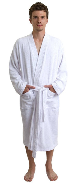 Men's Wholesale Cheap Terry Cloth Cotton Kimono Style Bathrobe - White, Terry Cloth Robes